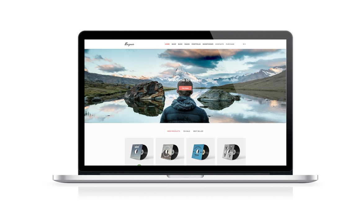 bazaar free e commerce wordpress theme laptop tablet smartphone